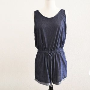 Pants - Dark Blue Cuffed Hem Drawstring Romper Size M
